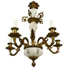French Foliate Brass Chandelier