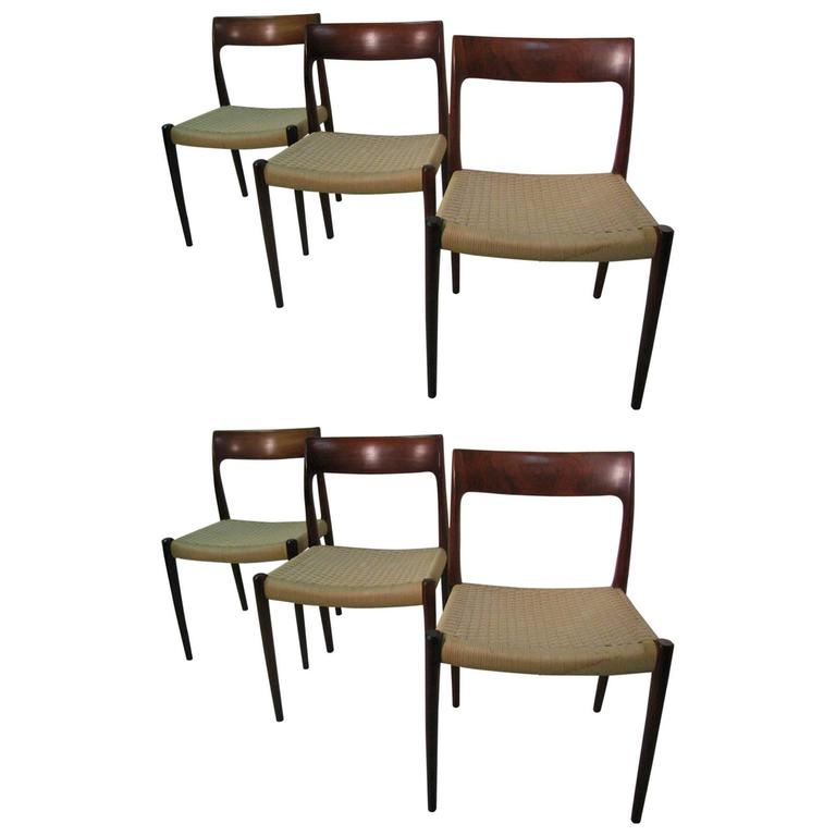 Set of Six Danish Mid-Century Modern Rosewood Dining Chairs by J L Moller 1