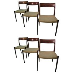 Set of Six Danish Mid-Century Modern Rosewood Dining Chairs by J L Moller