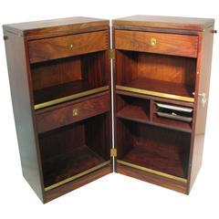Danish Mid-Century Modern Rosewood Foldup Rolling Bar Cabinet by Skovby