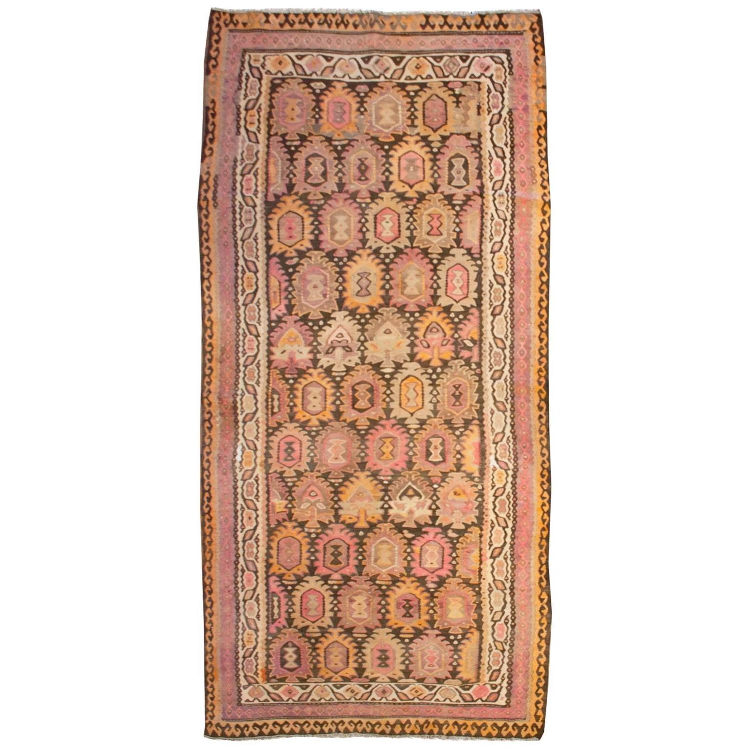 Fantastic Early 20th Century Qazvin Kilim Rug For Sale At