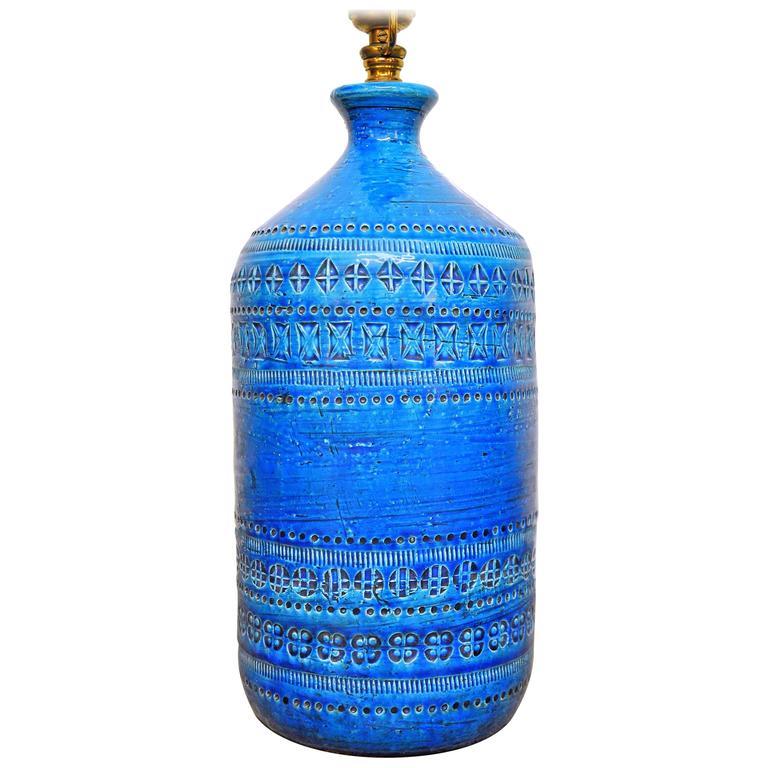 Aldo Londi for Bitossi Rimini Blu Italian Ceramic Lamp, circa 1960