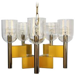Gaetano Sciolari Geometric Brass, Chrome and Glass Chandelier