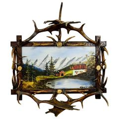 Antique Antler Frame with Naive Alpine Oil Painting
