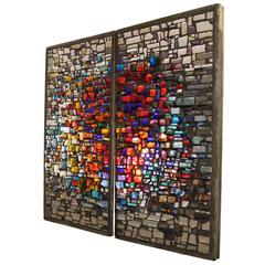 Two Pair of Large Colorful Decorative Glass and Concrete Relief Frames, 1960s