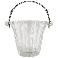 Swedish Art Glass Ice Bucket with Handle in Silver, Sweden, circa 1960s