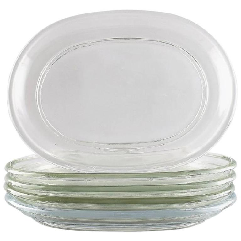 Five Lobster Plates in Clear Glass, Josef Frank, Sweden, Mid-20th Century For Sale