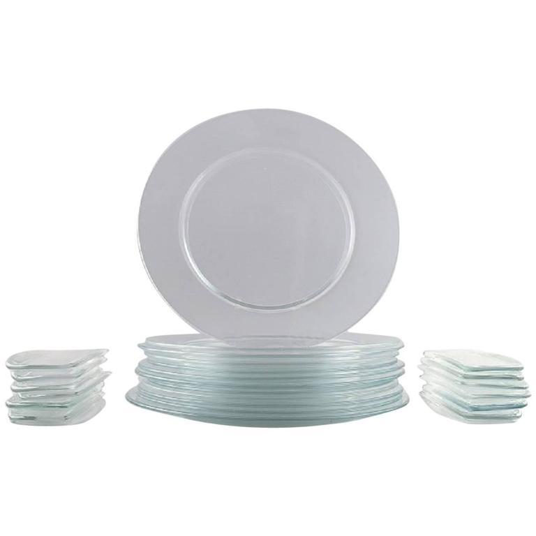 """Reijmyre Glassworks, """"Operakällaren"""", 12 Cover Plates, 12 Bread Dishes, 1980s"""