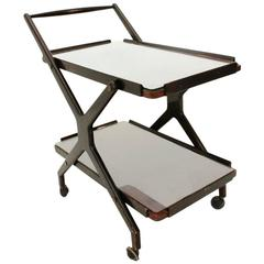 Mid-Century Italian Glass and Wood Serving Trolley, 1950s