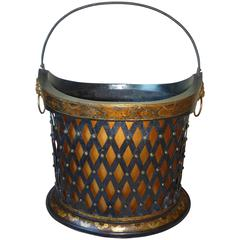English Regency Period Painted and Gilt Tole Basket, circa 1810-1820
