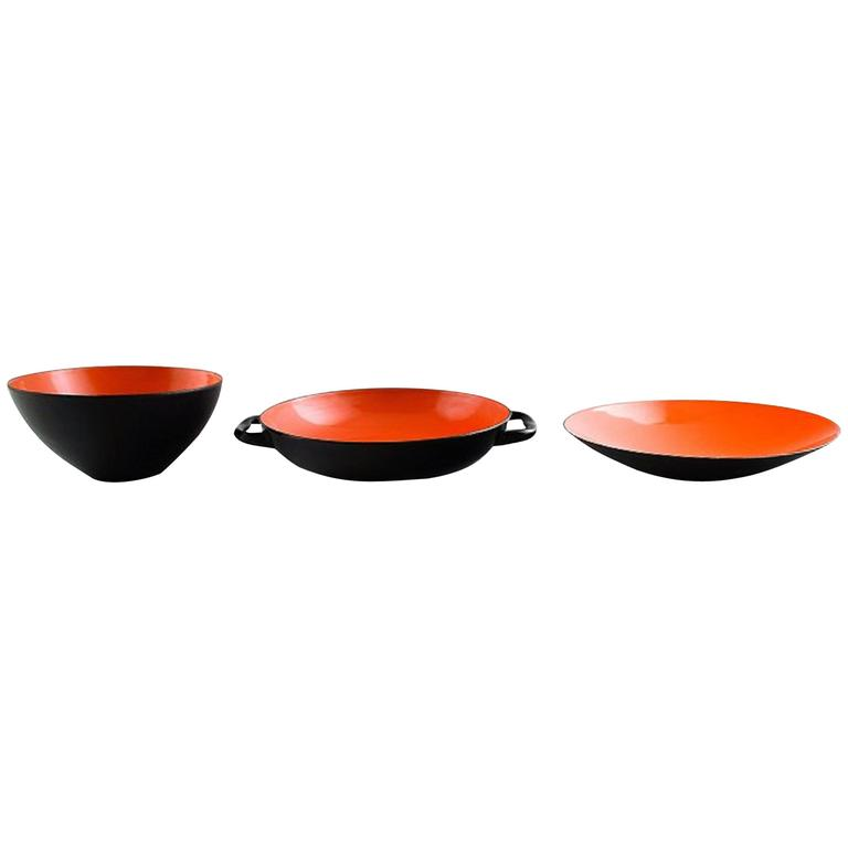 Krenit Bowl and Two Dishes by Herbert Krenchel, 1970s, Danish Design