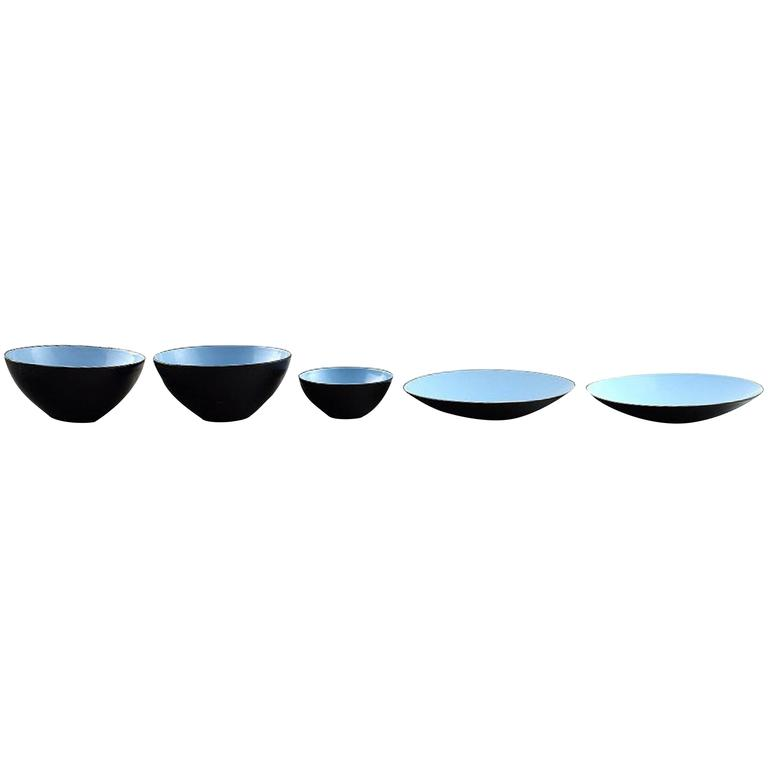 Krenit 3 Bowls and Two Dishes by Herbert Krenchel, 1970s, Danish Design