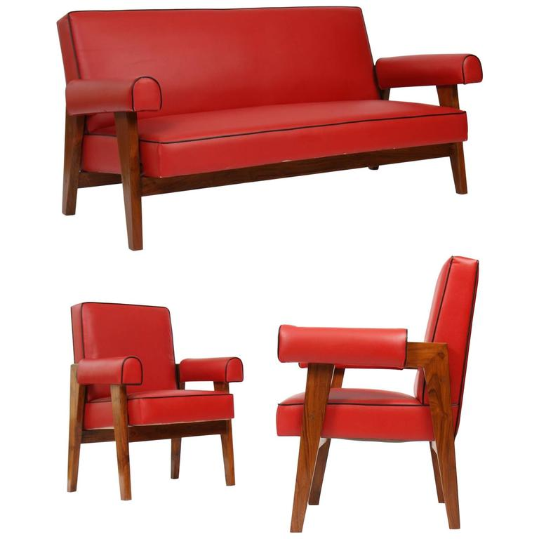 Le Corbusier (1887-1965) - Pierre Jeanneret (1896-1967) Furniture for Living Roo For Sale