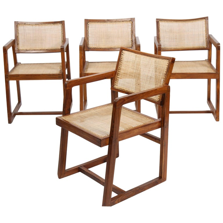 Pierre Jeanneret Set of Four Armchairs For Sale
