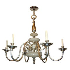 Silvered Bronze Chandelier with Alabaster