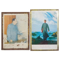 Mao Cultural Revolution Portraits on Tin