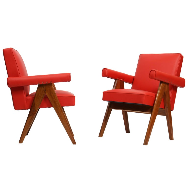 """Pierre Jeanneret Set of Two """"Senate-Committee"""" Chairs For Sale"""