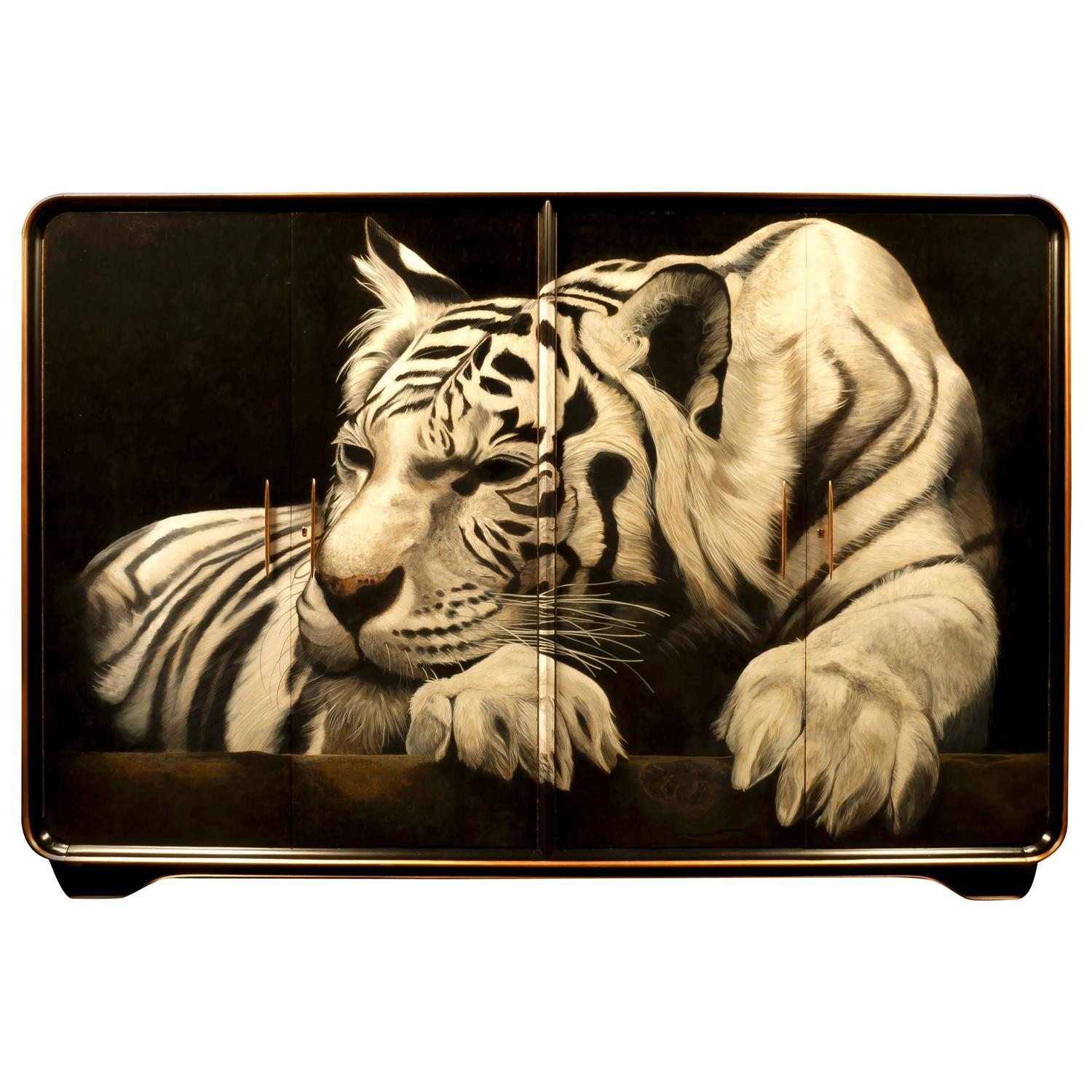 1940s Gentleman 39 S Wardrobe With Giant White Tiger Hand Painted By Kensa Designs For Sale At 1stdibs