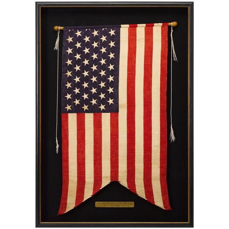 """45-Star """"Swallowtail"""" Guidon American Flag, Circa 1896-1908"""