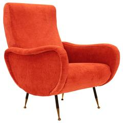 Mid-Century Italian Marco Zanuso Style Velvet Armchair, 1950s