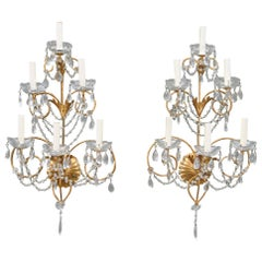 Pair of Italian Maria Theresa Style Crystal and Gold Wall Sconces