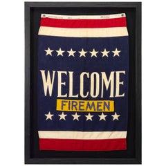 "Vintage WWII U.S. Navy Patriotic Banner, ""Welcome Firemen"" Flag, circa 1941-1945"