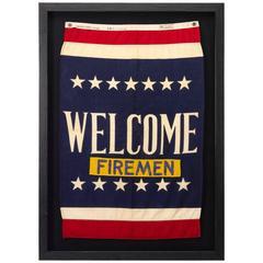 """Welcome Firemen"" WWII U.S. Navy Patriotic Banner Flag, circa 1941-1945"