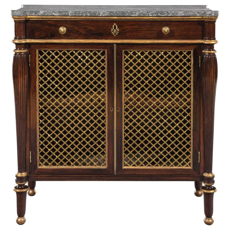 George IV Regency Period Rosewood Marble-Top Cabinet