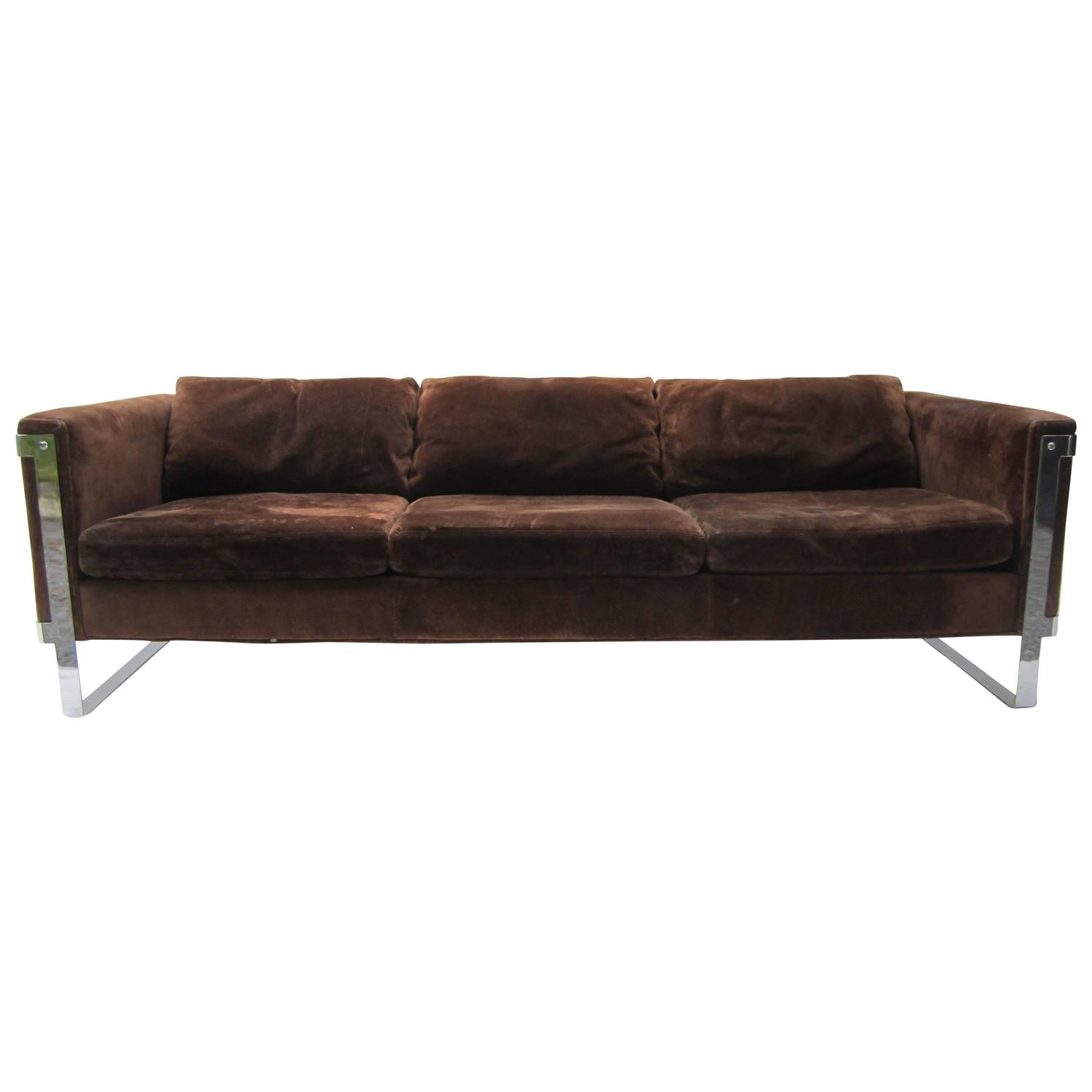 Milo baughman chrome and suede sofa for sale at 1stdibs for Suede couches for sale