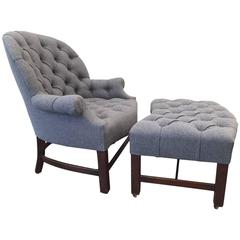 Regency Style Tufted Lounge Chair and Ottoman
