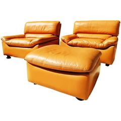 Pair of Tan Leather Lounge Chairs with Ottoman by Anita Schmidt for Durlet 1970s