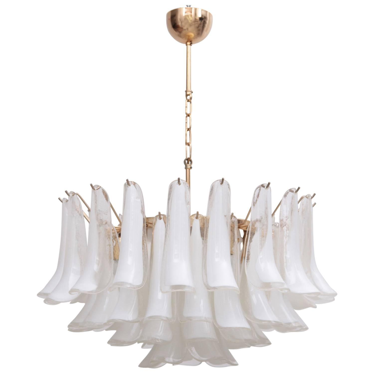 Extra Large Murano Chandelier With Gold Plated Base Italy 1970s At 1stdibs