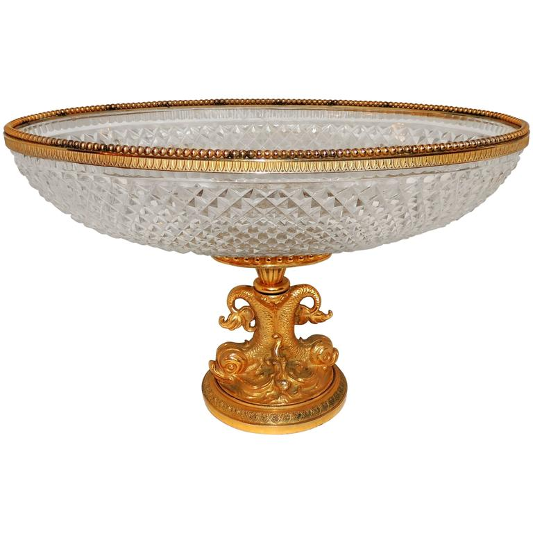 Wonderful French Cut Crystal and Dore Gilt Bronze Dolphin Motif Oval Centerpiece