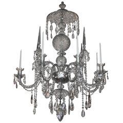 Large 19th Century Irish Georgian Crystal Chandelier