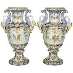 Pair of Large 19th Century French Faience Urns