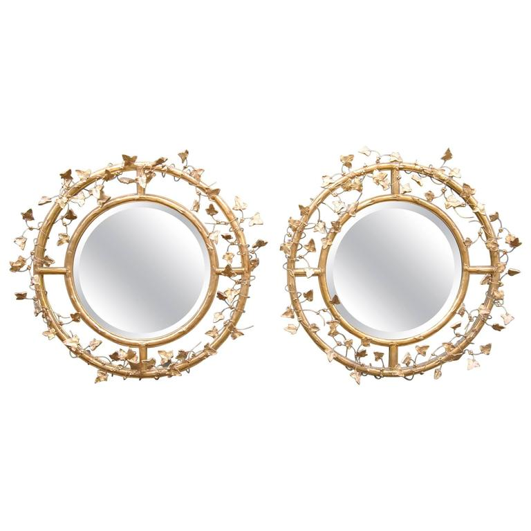 Pair of Giltwood Round Beveled Mirrors by Friedman Brothers For Sale