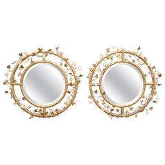 Pair of Giltwood Round Beveled Mirrors by Friedman Brothers