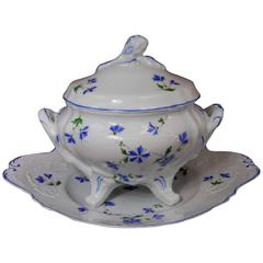 Bernardaud Limoges France Three-Piece Tureen, Blue Flowers Bachelor's Button