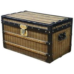 1870s  Louis Vuitton Stripped Trunk, Malle Louis Vuitton Toile Rayer