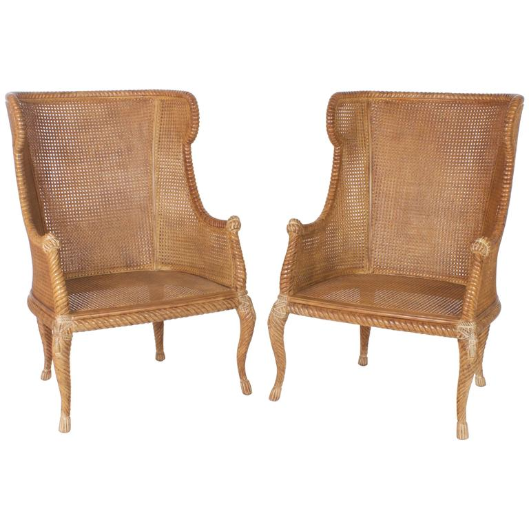 Pair Of Mid Century Italian Caned Wingback Chairs For Sale