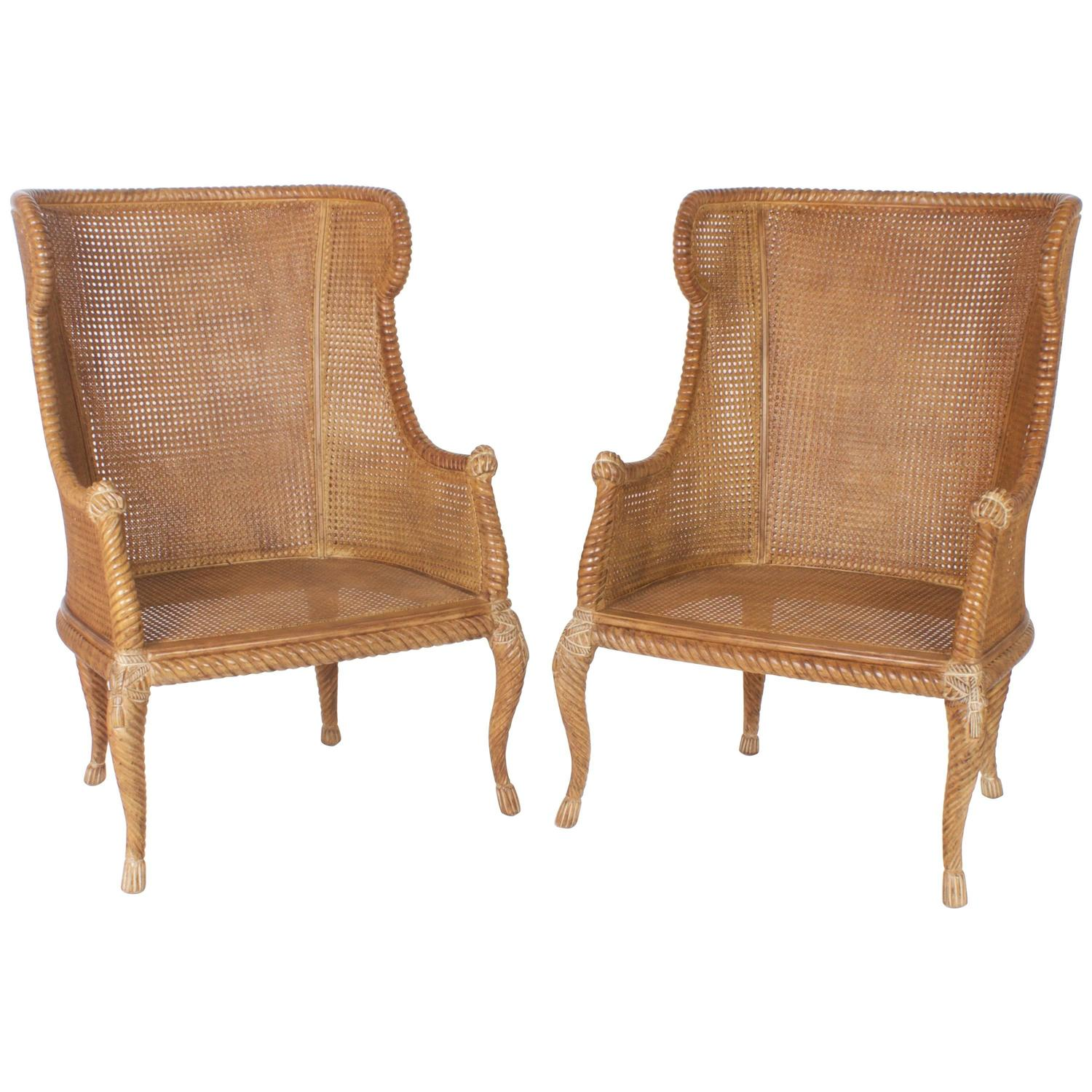 Pair of Mid Century Italian Caned Wingback Chairs at 1stdibs