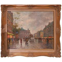 Early 20th Century Signed French Blanchard Painting, Large French Street Scene