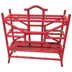 Tony Duquette Style Coral Red Faux Bamboo Magazine Stand