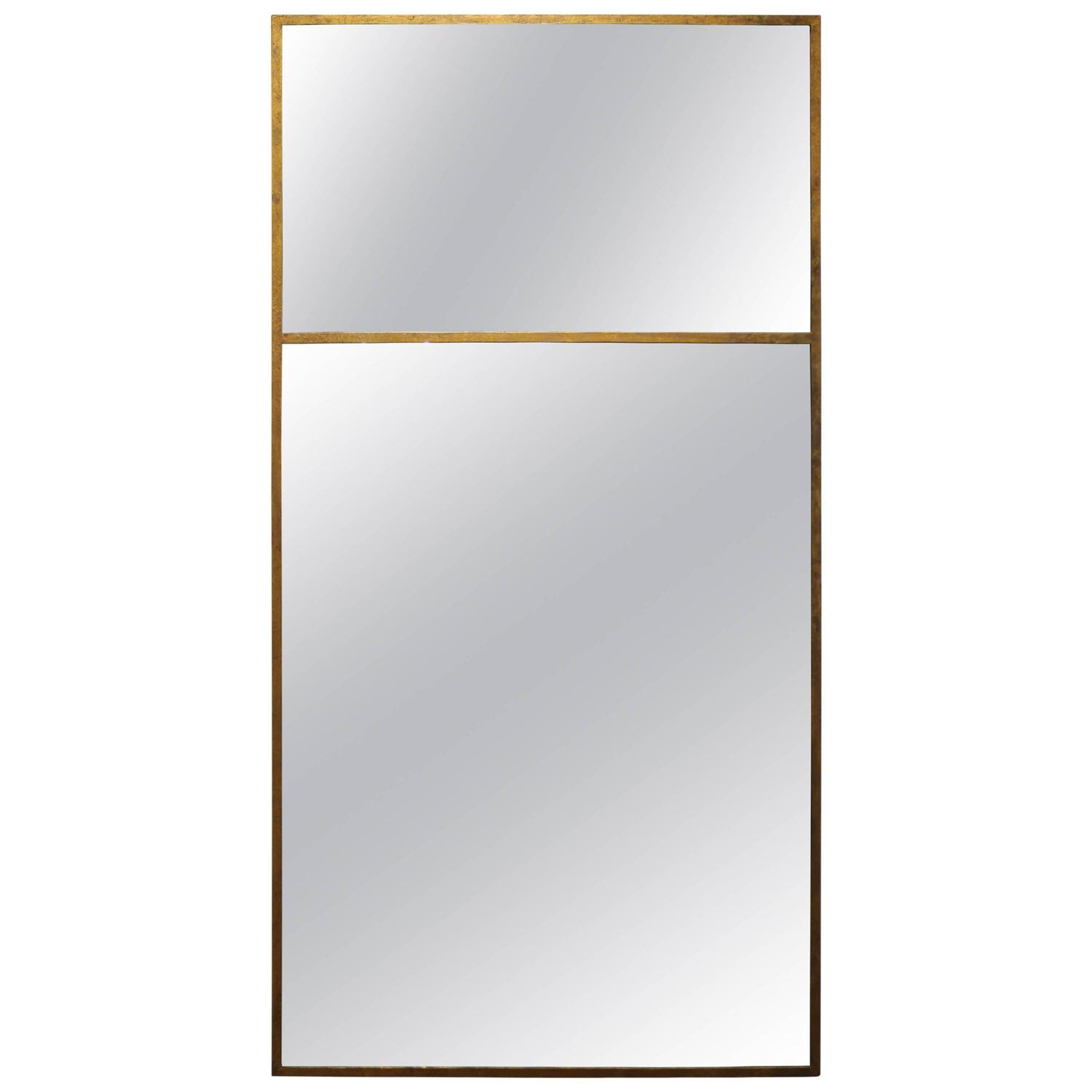 Long vertical gold wall mirror for sale at 1stdibs for Long wall mirror