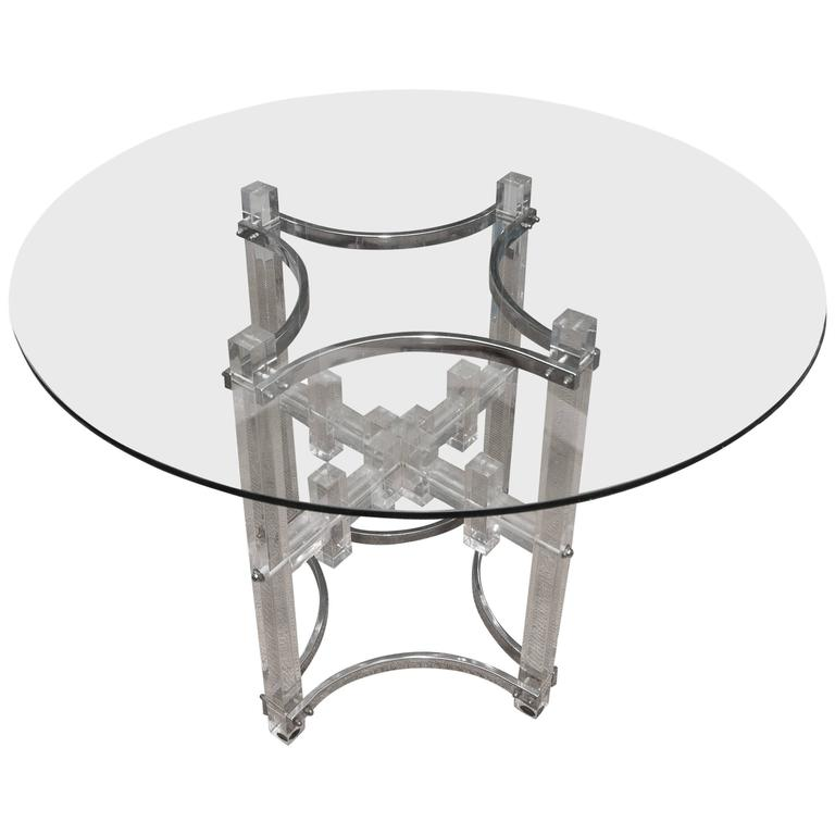 Mid Century Round Lucite Dining Table With Four Lucite