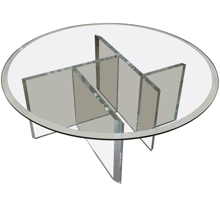 Round Mid Century Lucite Cocktail Table With Beveled Glass Top At 1stdibs