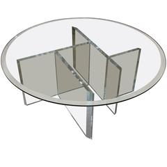 Round Mid-Century Lucite Cocktail Table with Beveled Glass Top