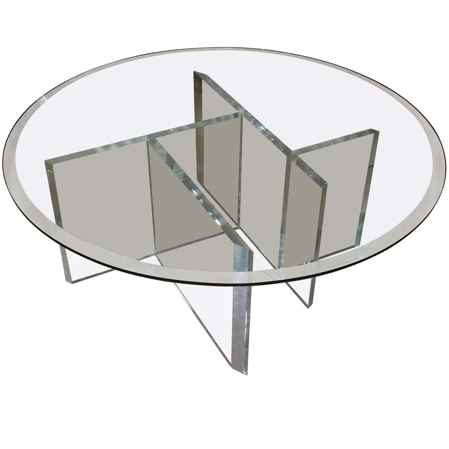 Round Mid Century Lucite Cocktail Table With Beveled Glass Top At
