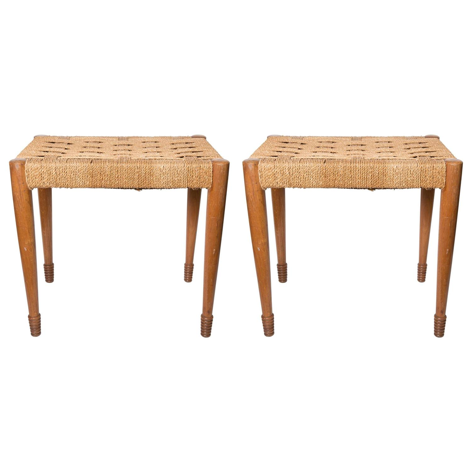 Pair Of Woven Seat Oak Benches At 1stdibs