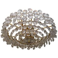 Tiered Brass and Facet Cut-Glass Element Chandelier